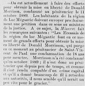 Source: «Nouvelles des Cantons-de-l'Est: Lac Mégantic». Le Progrès de l'Est: organe des populations des Cantons de l'Est. 9e année, n° 479, 23 août 1892, [p. 3].