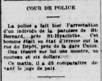 « Cour de Police », La Tribune, 28 septembre 1910, p. 3.