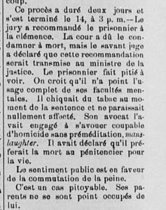 Source : [SA] « Cour d'assises. 13 octobre ». Le Progrès de l'Est : organe politique des populations des Cantons de l'Est, 7e année, no 374, 17 octobre 1890, p. 2.