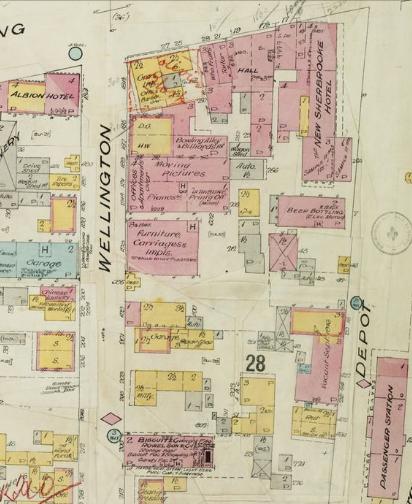 Gare du dépôt et rue Wellington en 1917